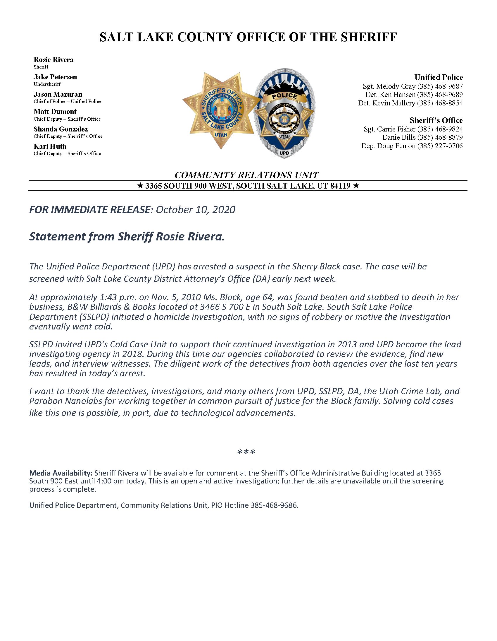 Sherry Black Homicide Arrest Press Release